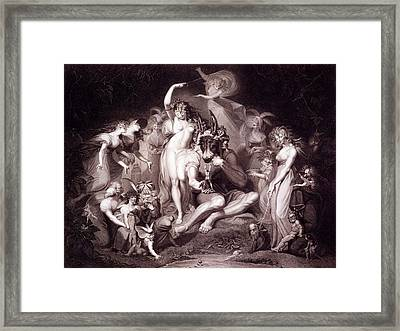 Titania, Bottom And The Fairies, Act 4 Framed Print by Henry Fuseli