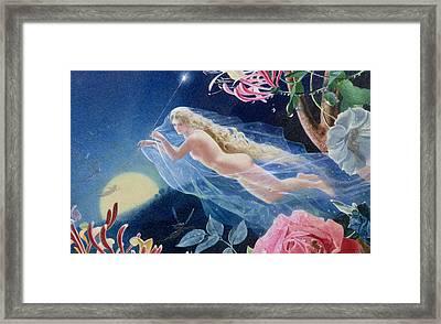 Titania Flying Framed Print by John Simmons