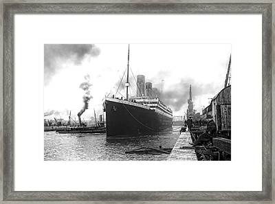 Titanic In Southampton Harbor Framed Print by Daniel Hagerman
