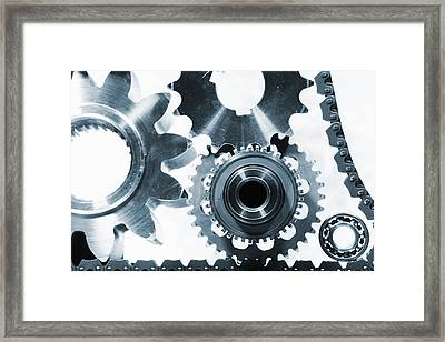 Titanium Aerospace Parts In Blue Framed Print by Christian Lagereek