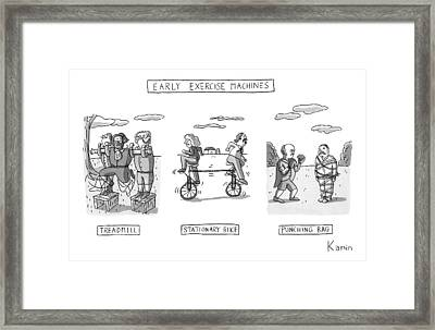 Title: Early Exercise Machines. Three Early Framed Print by Zachary Kanin