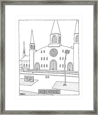 Title: Spec Church. A Billboard Outside A Church Framed Print by Jack Ziegler