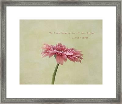 To See Light Framed Print by Kim Hojnacki