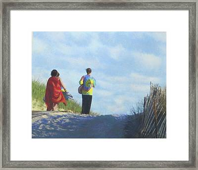 To The Beach Framed Print by Connie Kerwick-Kearns