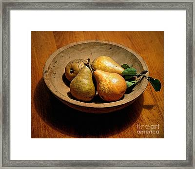 Today's Pears Framed Print by Gwyn Newcombe