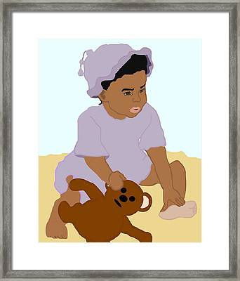 Toddler And Teddy Framed Print by Pharris Art