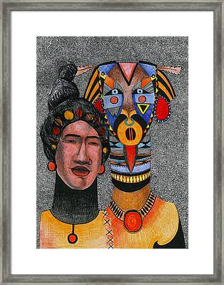 Together-forever, 2012 Pen, Ink And Colour Pencils On Paper Framed Print by Zanara/ Sabina Nedelcheva-Williams