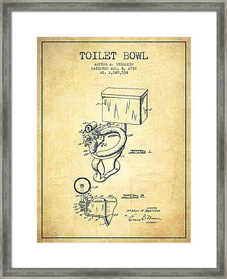Toilet Bowl Patent From 1936 - Vintage Framed Print by Aged Pixel