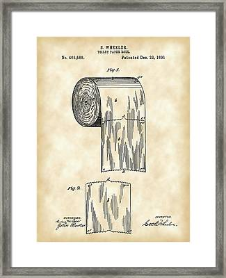 Toilet Paper Roll Patent 1891 - Vintage Framed Print by Stephen Younts