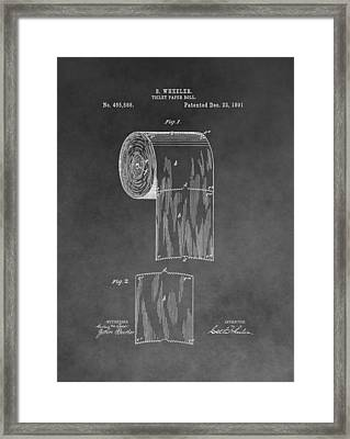 Toilet Paper Roll Patent Drawing Framed Print by Dan Sproul