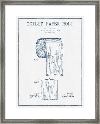 Toilet Paper Roll Patent Drawing From 1891  - Blue Ink Framed Print by Aged Pixel