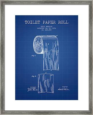 Toilet Paper Roll Patent Drawing From 1891 - Blueprint Framed Print by Aged Pixel