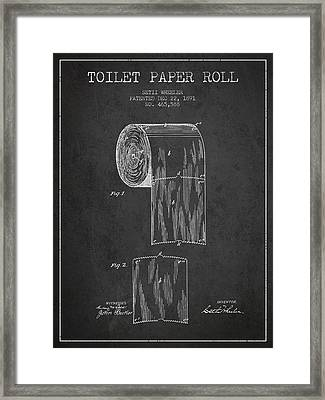 Toilet Paper Roll Patent Drawing From 1891 - Dark Framed Print by Aged Pixel