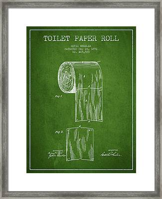 Toilet Paper Roll Patent Drawing From 1891 - Green Framed Print by Aged Pixel