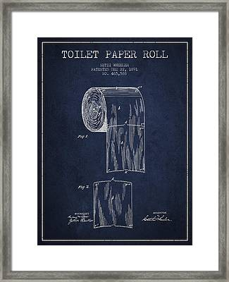 Toilet Paper Roll Patent Drawing From 1891 - Navy Blue Framed Print by Aged Pixel