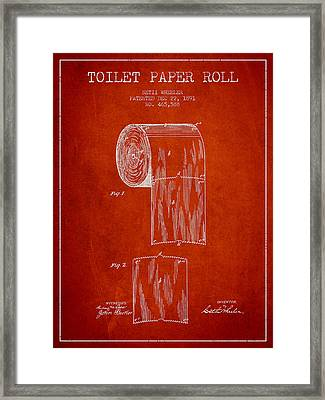 Toilet Paper Roll Patent Drawing From 1891 - Red Framed Print by Aged Pixel
