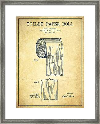 Toilet Paper Roll Patent Drawing From 1891 - Vintage Framed Print by Aged Pixel