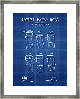Toilet Paper Roll Patent From 1891 - Blueprint Framed Print by Aged Pixel