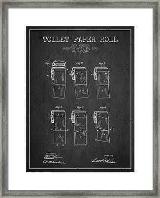Toilet Paper Roll Patent From 1891 - Charcoal Framed Print by Aged Pixel