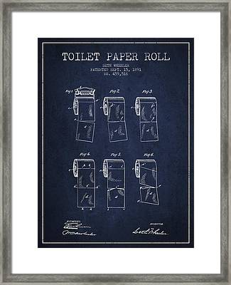 Toilet Paper Roll Patent From 1891 - Navy Blue Framed Print by Aged Pixel