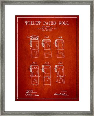Toilet Paper Roll Patent From 1891 - Red Framed Print by Aged Pixel