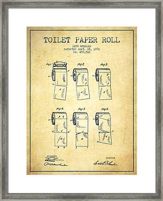 Toilet Paper Roll Patent From 1891 - Vintage Framed Print by Aged Pixel