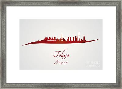 Tokyo Skyline In Red Framed Print by Pablo Romero