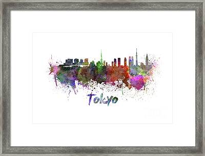 Tokyo Skyline In Watercolor Framed Print by Pablo Romero