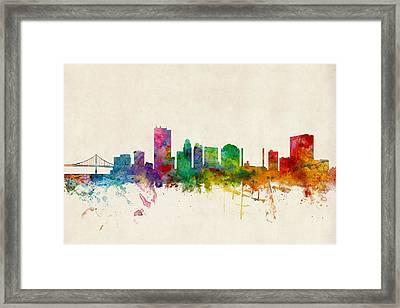 Toledo Ohio Skyline Framed Print by Michael Tompsett