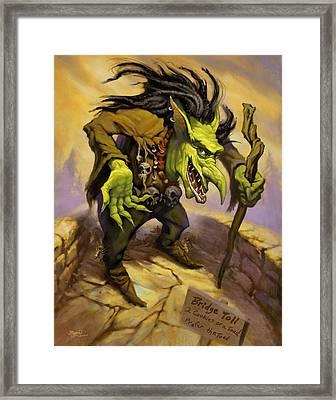 Toll Troll Framed Print by Jeff Haynie