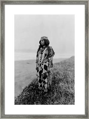 Tolowa Indian Woman Circa 1923 Framed Print by Aged Pixel