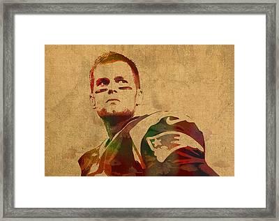 Tom Brady New England Patriots Quarterback Watercolor Portrait On Distressed Worn Canvas Framed Print by Design Turnpike