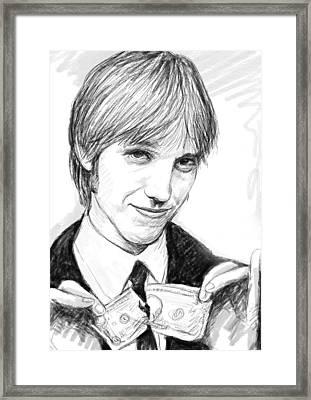 Tom Petty Art Drawing Sketch Portrait Framed Print by Kim Wang