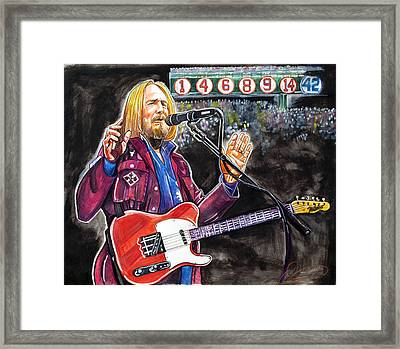 Tom Petty At Fenway Park Framed Print by Dave Olsen