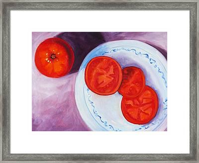 Tomato Framed Print by Nancy Merkle