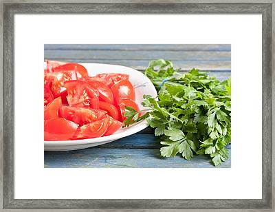 Tomatoes And Parsley Framed Print by Tom Gowanlock