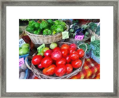 Tomatoes String Beans And Peppers At Farmer's Market Framed Print by Susan Savad