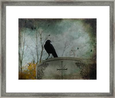 Tombstone Crow Framed Print by Gothicolors Donna Snyder