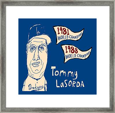 Tommy Lasorda Los Angeles Dodgers Framed Print by Jay Perkins