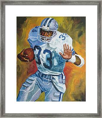Tony Dorsett - Dallas Cowboys  Framed Print by Mike Rabe