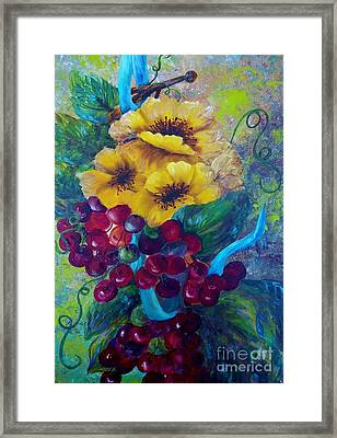 Blue Grapes Framed Print featuring the mixed media Too Delicate For Words - Yellow Flowers And Red Grapes by Eloise Schneider