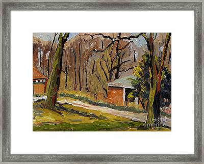 Tool Shed Still Cold Framed Print by Charlie Spear