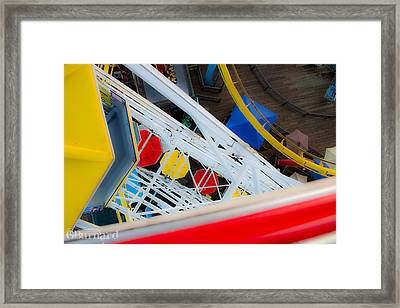 Top Of The Carousel Santa Monica Pier Framed Print by Guinapora Graphics