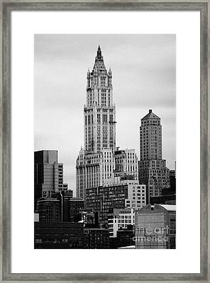 top of the Woolworth and transportation building 233 Broadway new york city Framed Print by Joe Fox