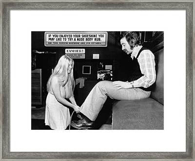 Topless Shoeshine Girl Framed Print by Underwood Archives