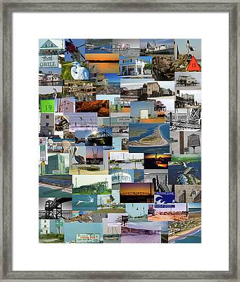 Topsail Island Nc Collage  Framed Print by Betsy Knapp
