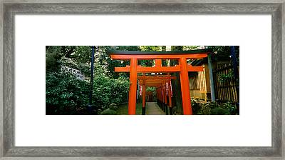 Torii Gates In A Park, Ueno Park Framed Print by Panoramic Images