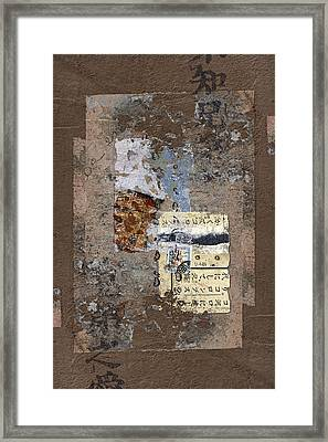 Torn Papers On Wall Framed Print by Carol Leigh