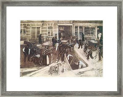 Torn-up Street With Diggers Framed Print by Vincent van Gogh