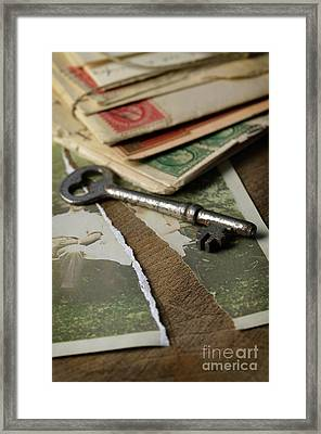 Torn Vintage Photograph With Key Framed Print by Jill Battaglia
